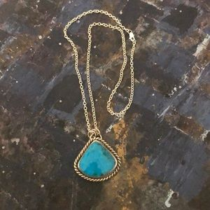 Turquoise and sterling silver pendant and chain